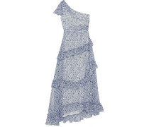 One-shoulder Ruffle-trimmed Floral-print Georgette Gown Light Blue