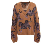 Woman Intarsia-knit Sweater Light Brown