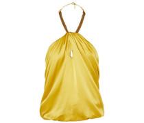 Claudia Embellished Silk-satin Halterneck Top Yellow