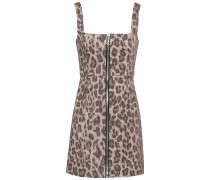 Leopard-print Cotton-blend Twill Mini Dress