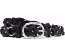 Mason Ring-embellished Woven Leather Belt Black  /L