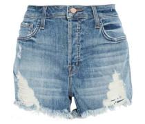 Distressed faded denim shorts