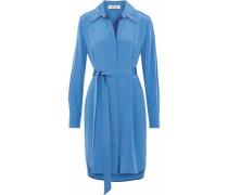 Washed-silk mini shirt dress