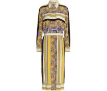 Printed silk crepe de chine midi shirt dress