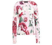 Lace-trimmed Floral-print Silk-blend Sweater Baby Pink