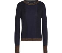 Paneled Metallic Knitted Sweater Midnight Blue