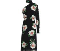 One-shoulder floral-print crepe dress