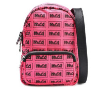 Woman Leather-trimmed Logo-print Shell Backpack Bubblegum