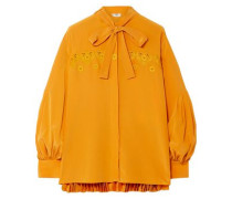 Pussy-bow Embroidered Pleated Silk Crepe De Chine Blouse Marigold