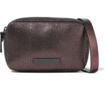 Bead-embellished Metallic Textured-leather Shoulder Bag Brass Size --