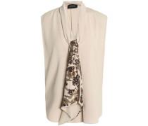 Embellished draped crepe blouse
