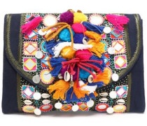 Embellished cotton shoulder bag