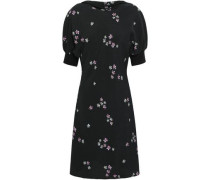 Gathered Floral-print Textured-crepe Mini Dress Black