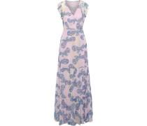 Stephania Printed Silk-georgette Maxi Wrap Dress Baby Pink