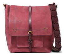 Django Leather-trimmed Nubuck Shoulder Bag Burgundy Size --