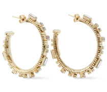 -tone Crystal Hoop Earrings