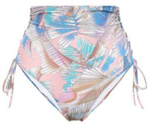 Madrid Lace-up Printed High-rise Bikini Briefs Baby Pink