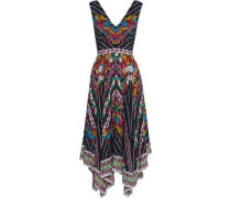 Woman Zuri Asymmetric Printed Silk Crepe De Chine Dress Multicolor