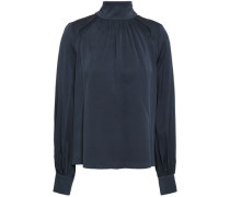 Cutout Gathered Silk-blend Crepe Blouse Anthracite