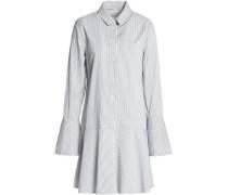Fluted striped cotton-poplin mini dress