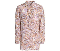 Printed silk-blend crepe blouse