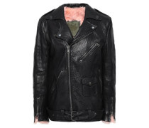 Shearling-lined Textured-leather Biker Jacket Black