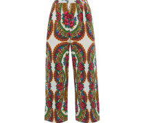 Pavoloski Printed Brushed Cotton-blend Twill Wide-leg Pants Ivory