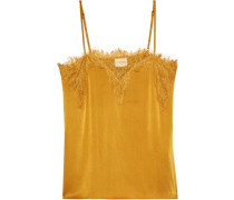 The Sweetheart Chantilly Lace-trimmed Silk-charmeuse Camisole Mustard