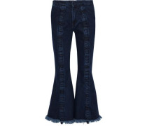 Frayed mid-rise flared jeans