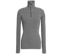 Metallic Ribbed-knit Turtleneck Sweater Gray