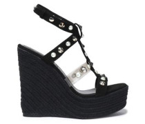 Embellished Suede And Pvc Espadrille Wedge Sandals Black