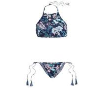 Printed Halterneck Bikini Navy