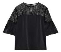 The Shauna Corded Lace-paneled Silk-charmeuse Top Black