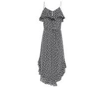 Woman Ruffled Silk Crepe De Chine Midi Dress Charcoal