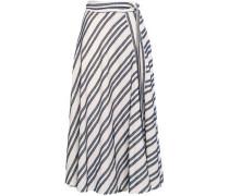 Frayed Striped Cotton-blend Midi Skirt Ivory Size 12