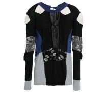 Lace-up Intarsia-knit Silk Top Black