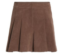 Skirt-effect pleated faux suede shorts
