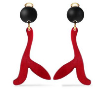 Gold-tone, Resin And Horn Clip Earrings Crimson Size --