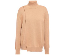 Woman Asymmetric Cashmere Turtleneck Sweater Sand