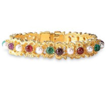 24-karat Gold-plated, Faux Pearl And Stone Bangle Gold Size --