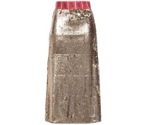 Sequined Jersey Midi Skirt Bronze