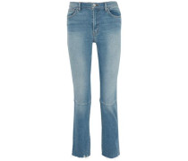Faded distressed high-rise slim-leg jeans