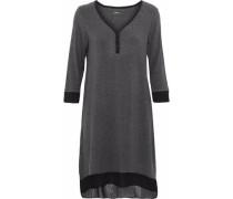 Chiffon-trimmed modal-blend jersey nightdress