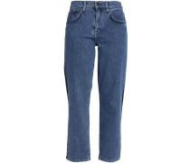Two-tone high-rise slim-leg jeans