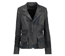 Distressed patchwork cotton and linen-twill jacket