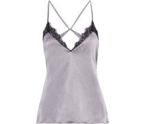 The Cecilie Open-back Lace-trimmed Silk-charmeuse Camisole Stone