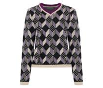 Jacquard-knit Wool Sweater Lavender