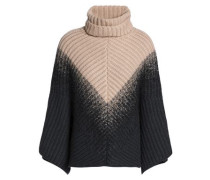 Two-tone ribbed cashmere turtleneck poncho