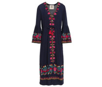 Embroidered Cotton-gauze Midi Dress Navy