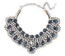 Woman Silver-tone, Satin And Crystal Necklace Silver